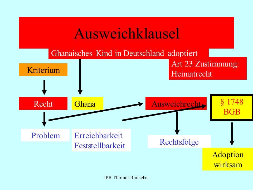IPR Thomas Rauscher Ausweichklausel Kriterium Recht Problem Ausweichrecht Rechtsfolge Ghanaisches Kind in Deutschland adoptiert Art 23 Zustimmung: Hei