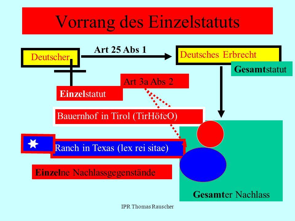 IPR Thomas Rauscher Vorrang des Einzelstatuts Deutscher Art 25 Abs 1 Deutsches Erbrecht Gesamter Nachlass Gesamtstatut Art 3a Abs 2 Bauernhof in Tirol