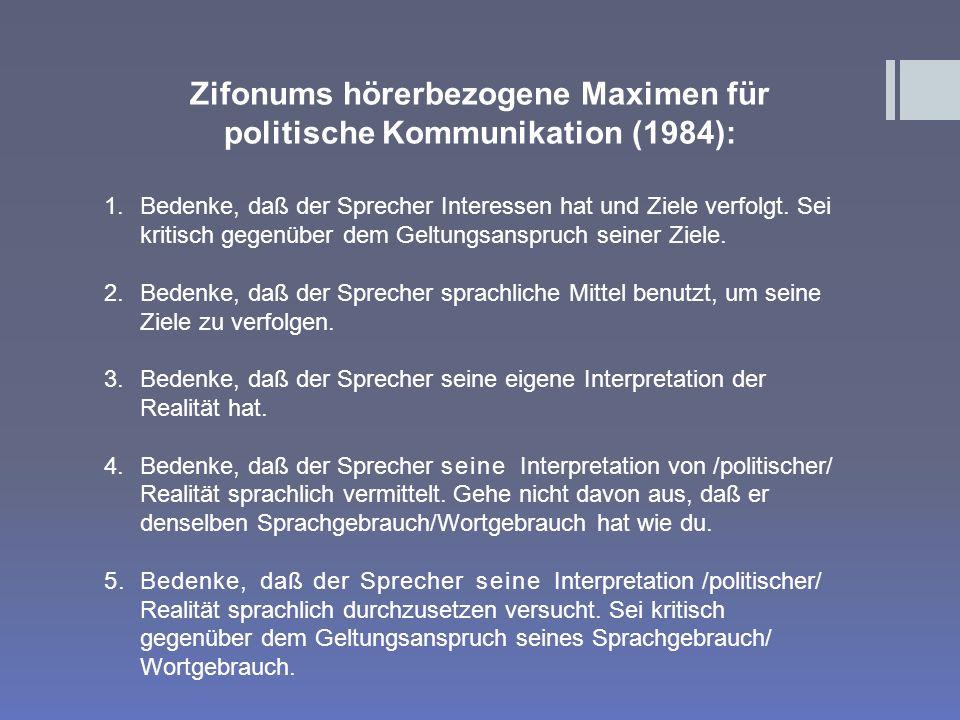 Zifonums hörerbezogene Maximen für politische Kommunikation (1984): 1.Bedenke, daß der Sprecher Interessen hat und Ziele verfolgt.