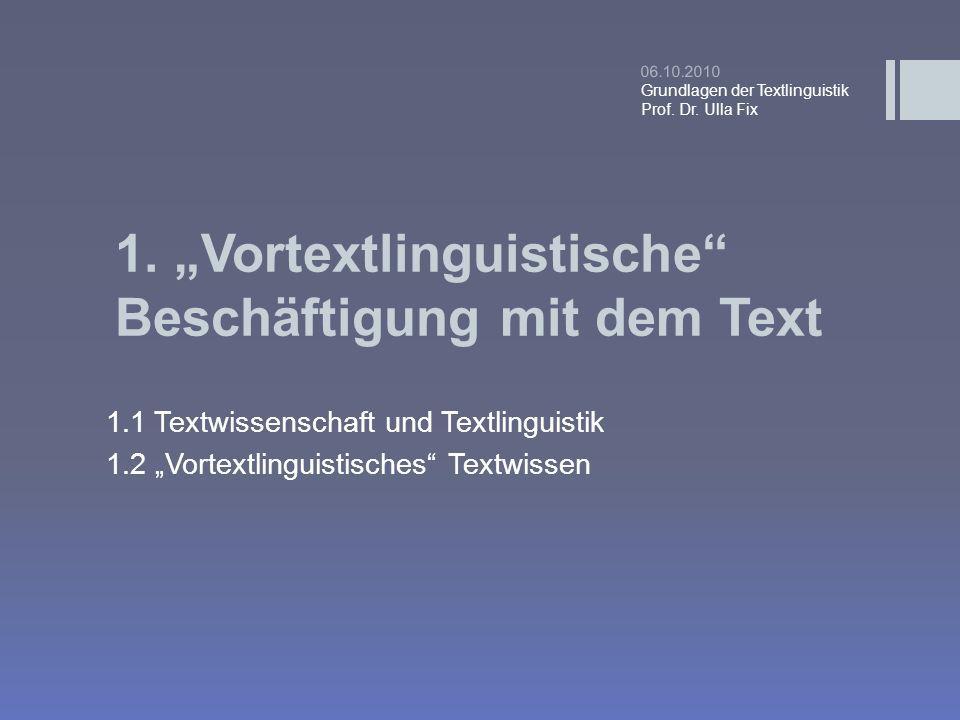 1. Vortextlinguistische Beschäftigung mit dem Text 1.1 Textwissenschaft und Textlinguistik 1.2 Vortextlinguistisches Textwissen 06.10.2010 Grundlagen