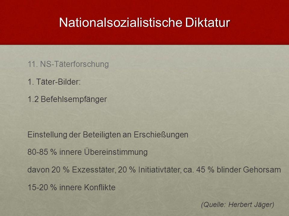 Nationalsozialistische Diktatur 11. NS-Täterforschung 1. Täter-Bilder: 1.2 Befehlsempfänger Einstellung der Beteiligten an Erschießungen 80-85 % inner