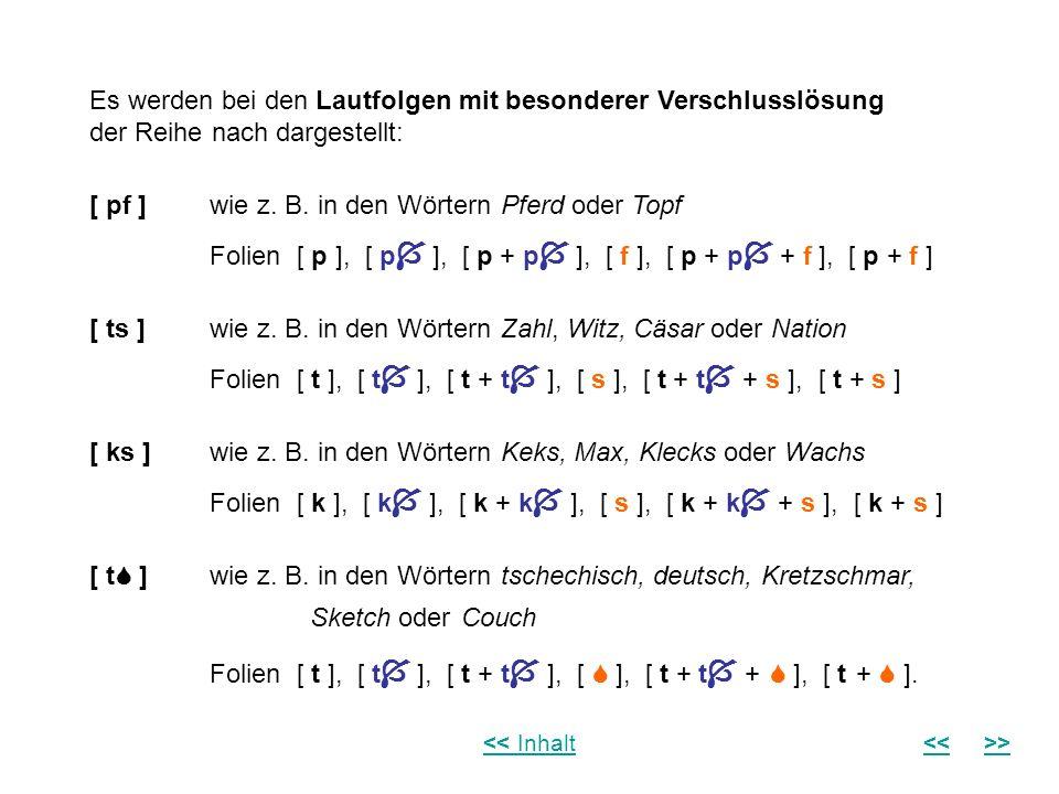 Es werden bei den Lautfolgen mit besonderer Verschlusslösung der Reihe nach dargestellt: [ pf ] wie z. B. in den Wörtern Pferd oder Topf Folien [ p ],