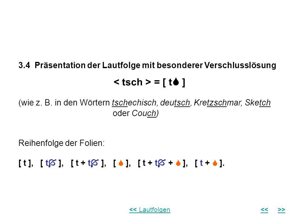 3.4 Präsentation der Lautfolge mit besonderer Verschlusslösung = [ t ] (wie z. B. in den Wörtern tschechisch, deutsch, Kretzschmar, Sketch oder Couch)