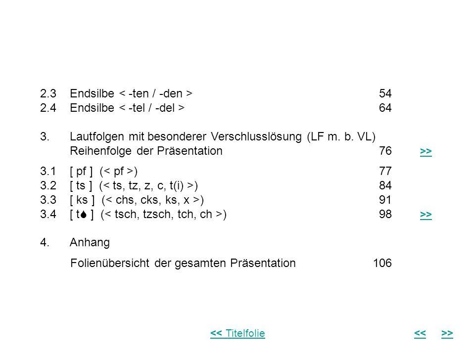 1.3 Umfang des Materials Das vorliegende Material umfasst neben der Einführung insgesamt 8 Präsentationen von Lautfolgen: Es sind die 4 gebräuchlichsten Endsilben,,, ([ -p n / -b n ], [ -k n / -g n ], [ -t n / -d n ], [ -t l / -d l ]), bei denen aufgrund der Elision (des Wegfalls) des Murmelvokals [ ] ein Assimilationsvorgang (eine Angleichung) einsetzt; sowie 4 Lautfolgen mit besonderer Verschlusslösung [ pf ], [ ts ], [ ks ], [ t ], (,,, ) also Assimilationsvorgänge, die sich gegenüber der Einzellautrealisation ergeben.