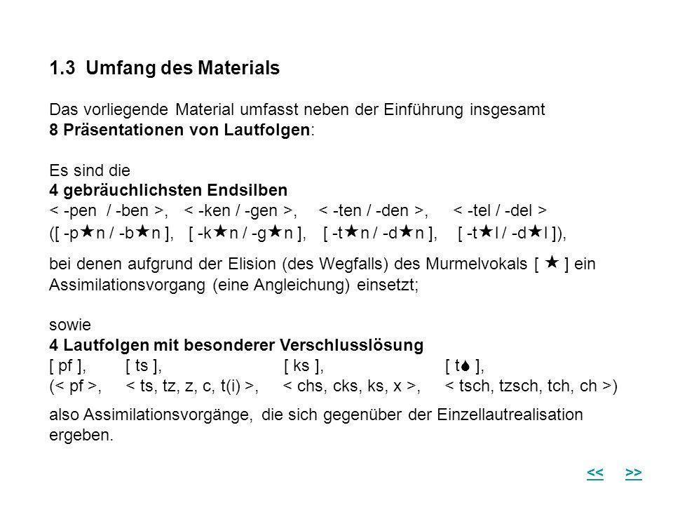 1.3 Umfang des Materials Das vorliegende Material umfasst neben der Einführung insgesamt 8 Präsentationen von Lautfolgen: Es sind die 4 gebräuchlichst