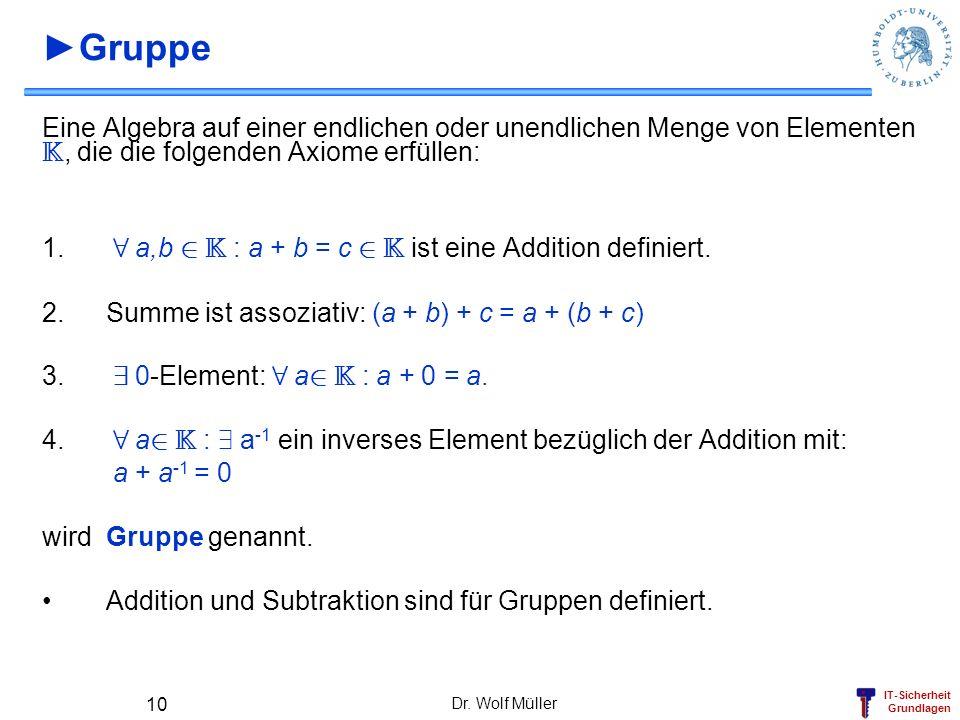 IT-Sicherheit Grundlagen Dr. Wolf Müller 10 Gruppe Eine Algebra auf einer endlichen oder unendlichen Menge von Elementen K, die die folgenden Axiome e