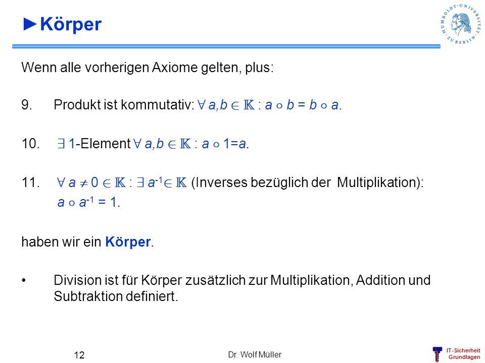 IT-Sicherheit Grundlagen Dr. Wolf Müller 12 Körper Wenn alle vorherigen Axiome gelten, plus: 9.Produkt ist kommutativ: 8 a,b 2 K : a ± b = b ± a. 10.