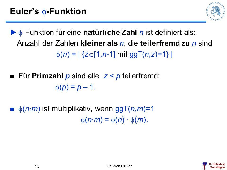 IT-Sicherheit Grundlagen Dr. Wolf Müller 15 Eulers -Funktion -Funktion für eine natürliche Zahl n ist definiert als: Anzahl der Zahlen kleiner als n,