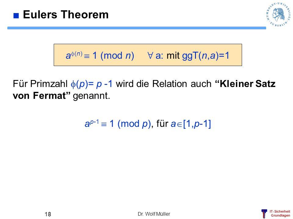 IT-Sicherheit Grundlagen Dr. Wolf Müller 18 Eulers Theorem a (n) 1 (mod n) 8 a: mit ggT(n,a)=1 Für Primzahl (p)= p -1 wird die Relation auch Kleiner S
