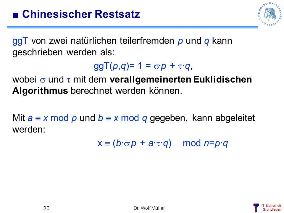 IT-Sicherheit Grundlagen Dr. Wolf Müller 20 Chinesischer Restsatz ggT von zwei natürlichen teilerfremden p und q kann geschrieben werden als: ggT(p,q)