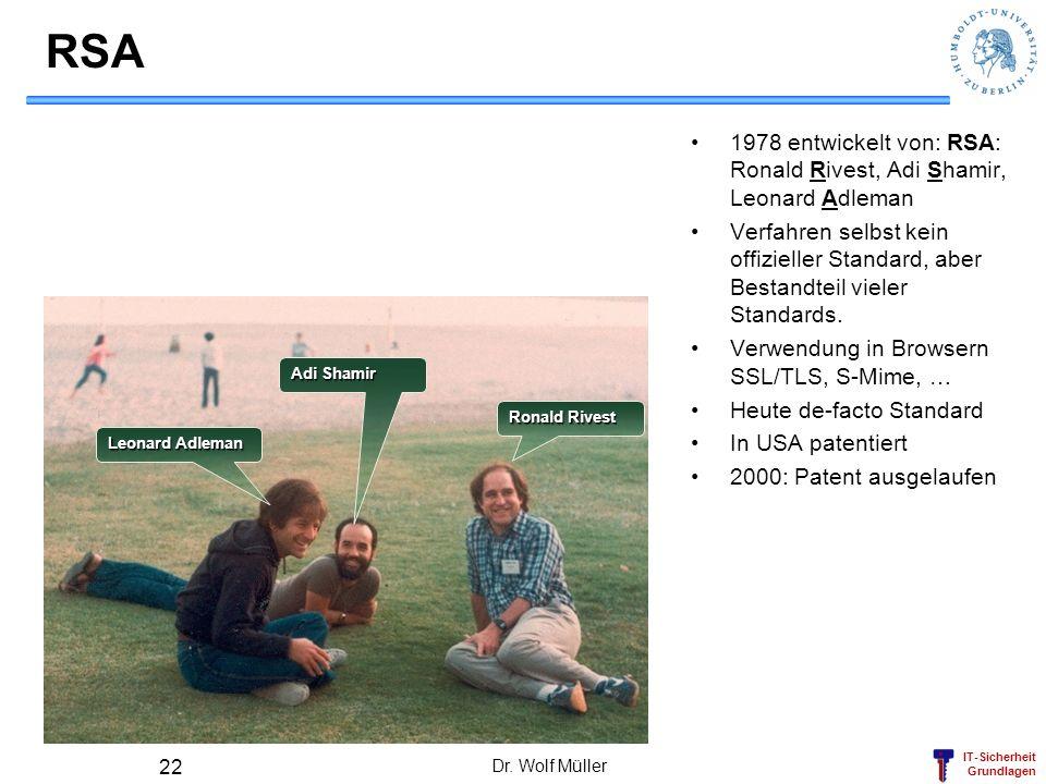 IT-Sicherheit Grundlagen Dr. Wolf Müller 22 RSA 1978 entwickelt von: RSA: Ronald Rivest, Adi Shamir, Leonard Adleman Verfahren selbst kein offizieller
