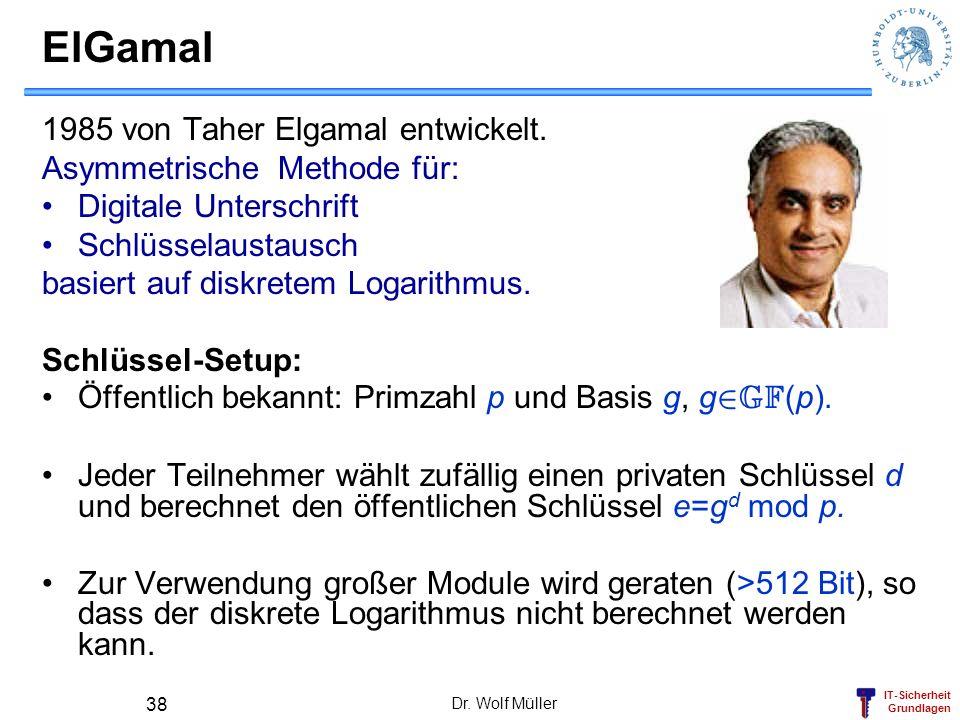 IT-Sicherheit Grundlagen Dr. Wolf Müller 38 ElGamal 1985 von Taher Elgamal entwickelt. Asymmetrische Methode für: Digitale Unterschrift Schlüsselausta