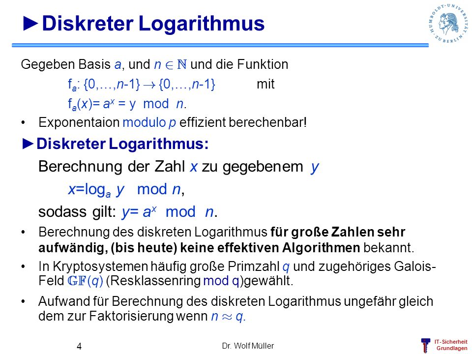 IT-Sicherheit Grundlagen Dr. Wolf Müller 4 Diskreter Logarithmus Gegeben Basis a, und n 2 N und die Funktion f a : {0,…,n-1} ! {0,…,n-1} mit f a (x)=