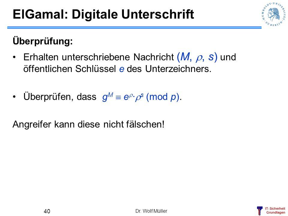 IT-Sicherheit Grundlagen Dr. Wolf Müller 40 ElGamal: Digitale Unterschrift Überprüfung: Erhalten unterschriebene Nachricht (M,, s) und öffentlichen Sc