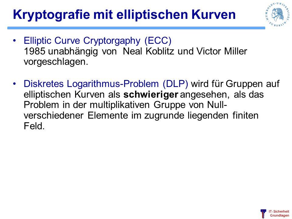 IT-Sicherheit Grundlagen Kryptografie mit elliptischen Kurven Elliptic Curve Cryptorgaphy (ECC) 1985 unabhängig von Neal Koblitz und Victor Miller vor