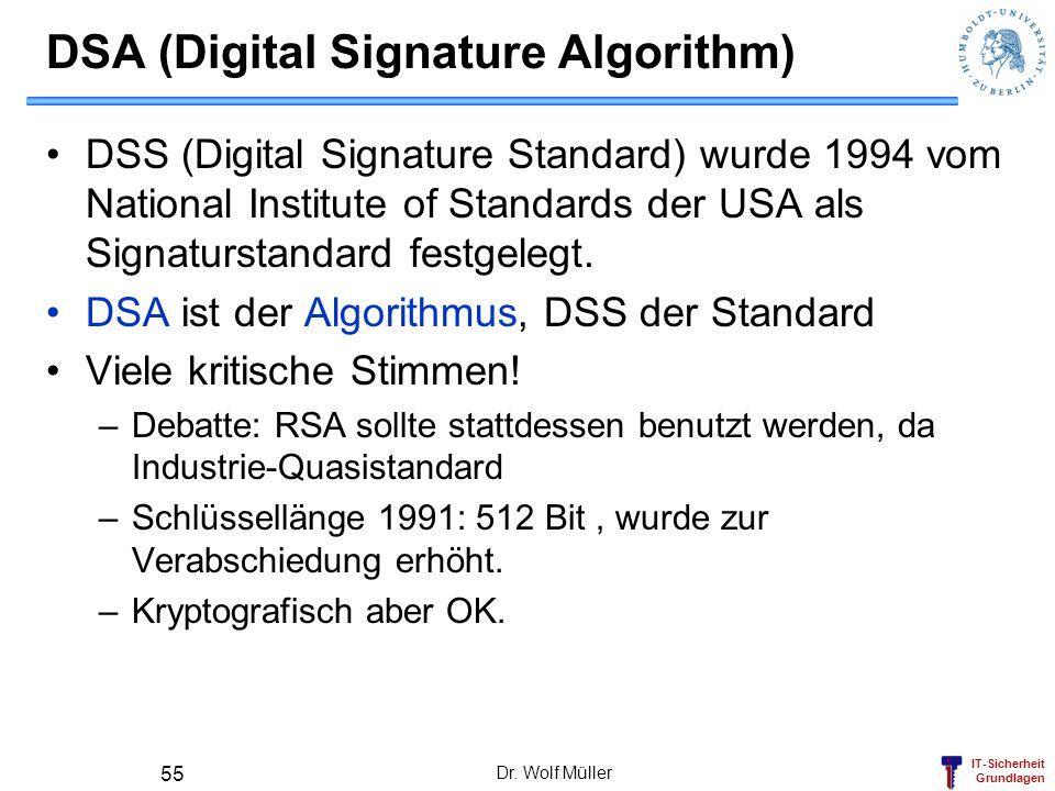 IT-Sicherheit Grundlagen Dr. Wolf Müller 55 DSA (Digital Signature Algorithm) DSS (Digital Signature Standard) wurde 1994 vom National Institute of St