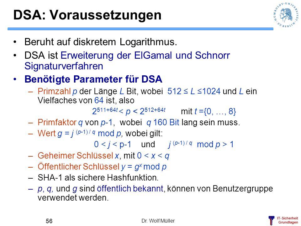IT-Sicherheit Grundlagen Dr. Wolf Müller 56 DSA: Voraussetzungen Beruht auf diskretem Logarithmus. DSA ist Erweiterung der ElGamal und Schnorr Signatu