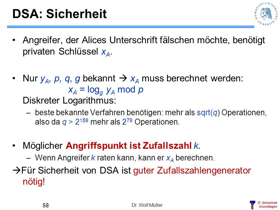IT-Sicherheit Grundlagen Dr. Wolf Müller 58 DSA: Sicherheit Angreifer, der Alices Unterschrift fälschen möchte, benötigt privaten Schlüssel x A. Nur y
