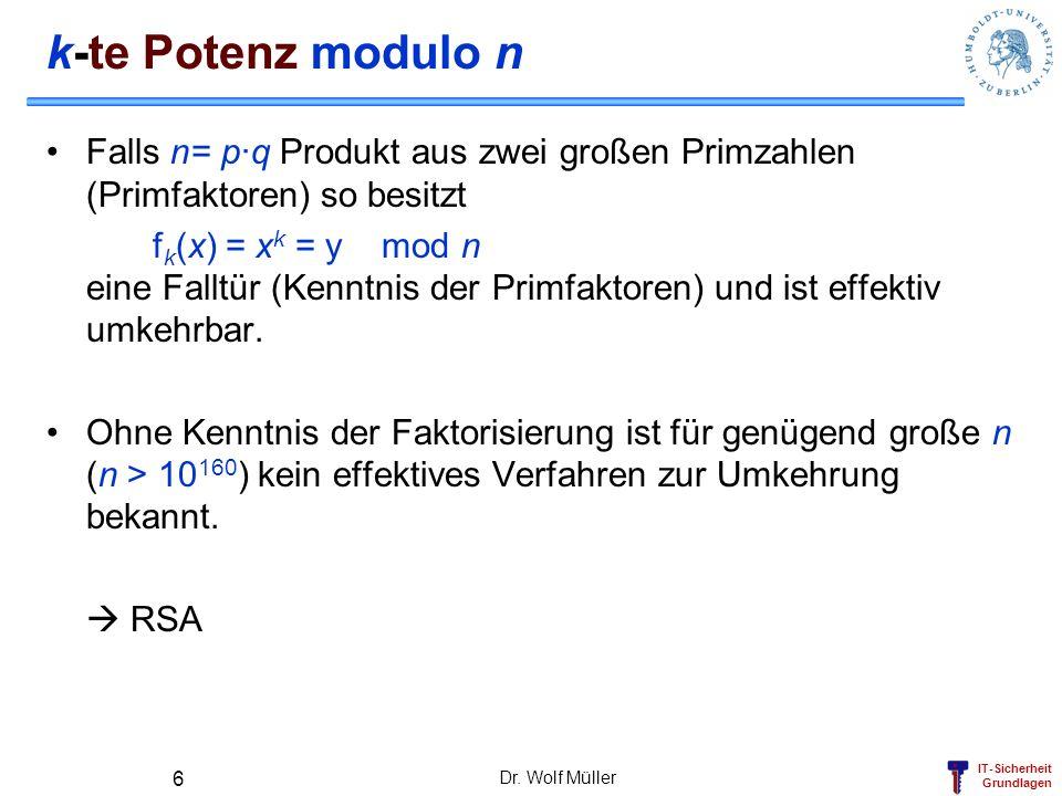 IT-Sicherheit Grundlagen k-te Potenz modulo n Falls n= p·q Produkt aus zwei großen Primzahlen (Primfaktoren) so besitzt f k (x) = x k = y mod n eine F