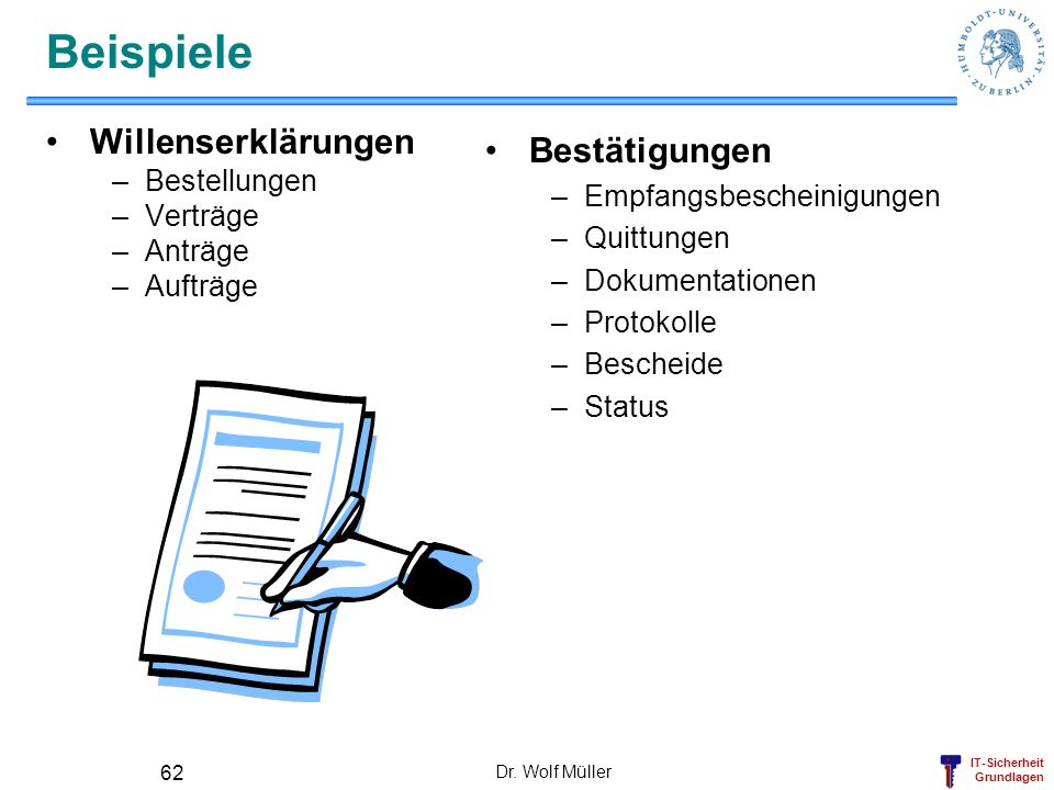 IT-Sicherheit Grundlagen Dr. Wolf Müller 62 Beispiele Willenserklärungen –Bestellungen –Verträge –Anträge –Aufträge Bestätigungen –Empfangsbescheinigu