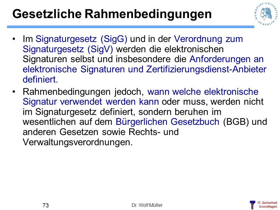IT-Sicherheit Grundlagen Dr. Wolf Müller 73 Gesetzliche Rahmenbedingungen Im Signaturgesetz (SigG) und in der Verordnung zum Signaturgesetz (SigV) wer