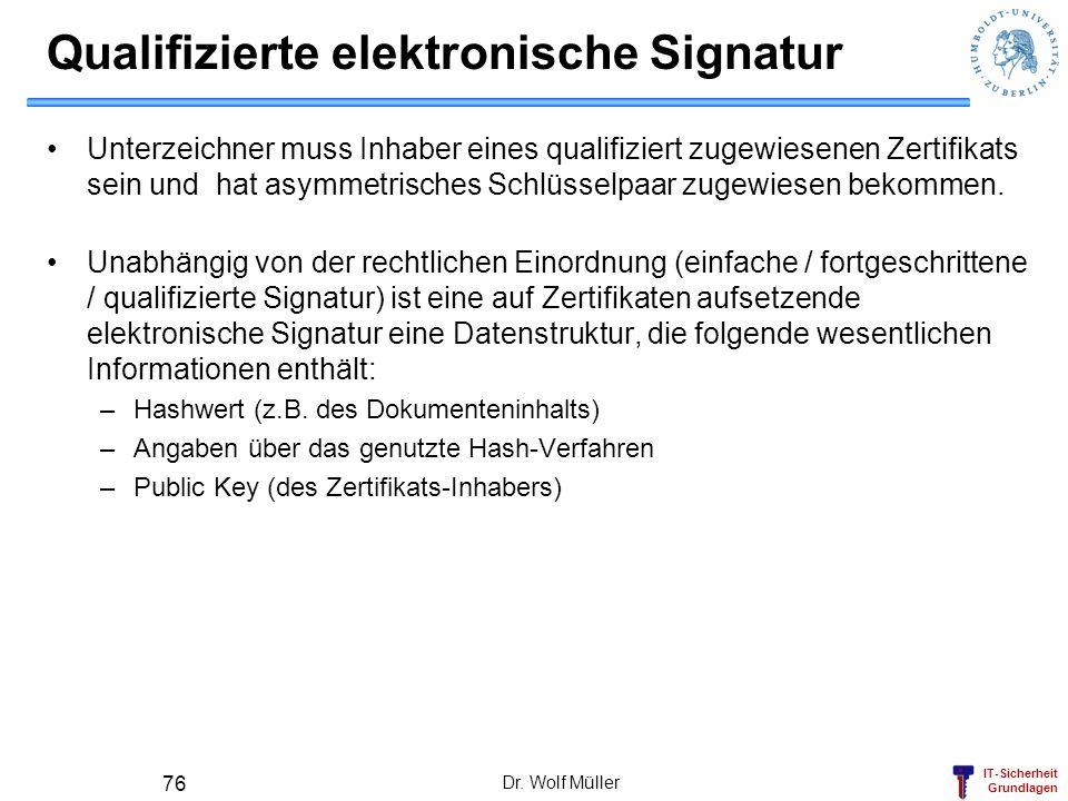IT-Sicherheit Grundlagen Dr. Wolf Müller 76 Qualifizierte elektronische Signatur Unterzeichner muss Inhaber eines qualifiziert zugewiesenen Zertifikat