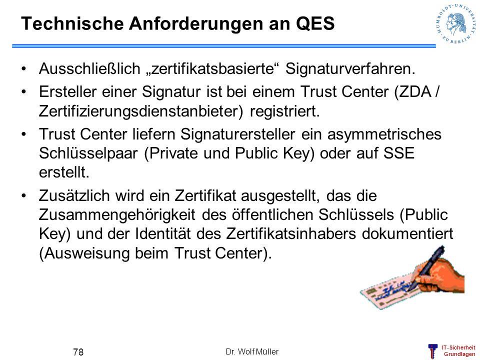 IT-Sicherheit Grundlagen Dr. Wolf Müller 78 Technische Anforderungen an QES Ausschließlich zertifikatsbasierte Signaturverfahren. Ersteller einer Sign