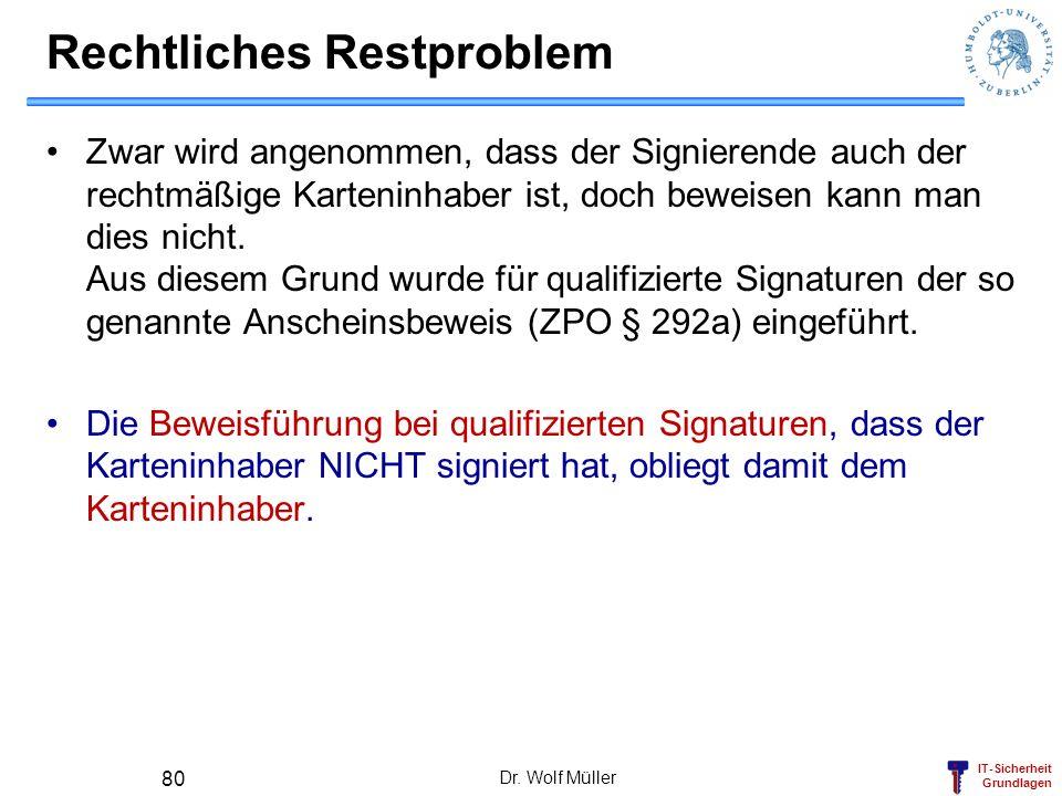 IT-Sicherheit Grundlagen Dr. Wolf Müller 80 Rechtliches Restproblem Zwar wird angenommen, dass der Signierende auch der rechtmäßige Karteninhaber ist,