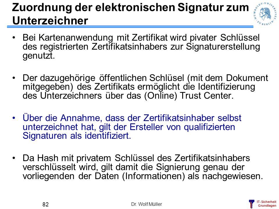 IT-Sicherheit Grundlagen Dr. Wolf Müller 82 Zuordnung der elektronischen Signatur zum Unterzeichner Bei Kartenanwendung mit Zertifikat wird pivater Sc