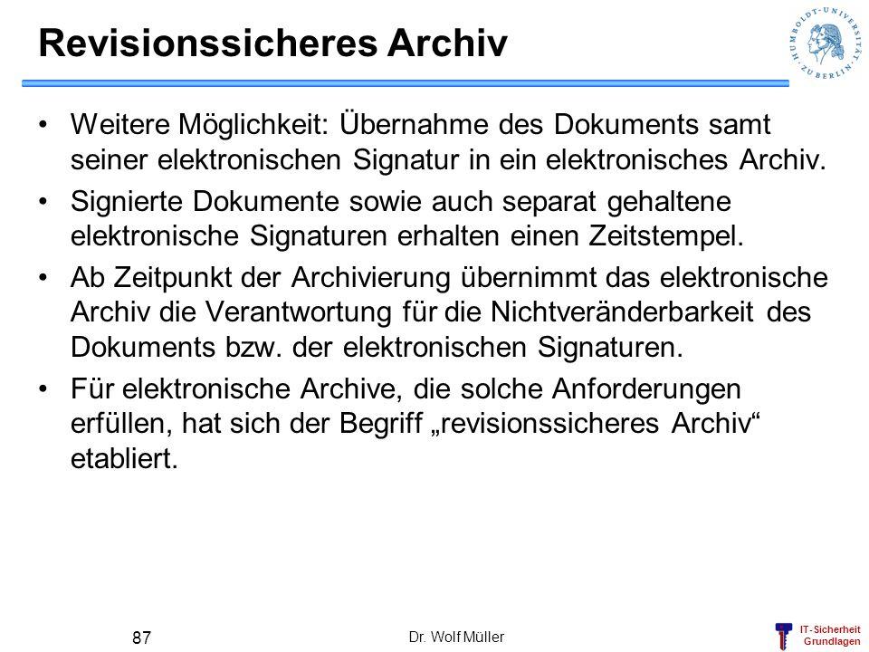 IT-Sicherheit Grundlagen Dr. Wolf Müller 87 Revisionssicheres Archiv Weitere Möglichkeit: Übernahme des Dokuments samt seiner elektronischen Signatur