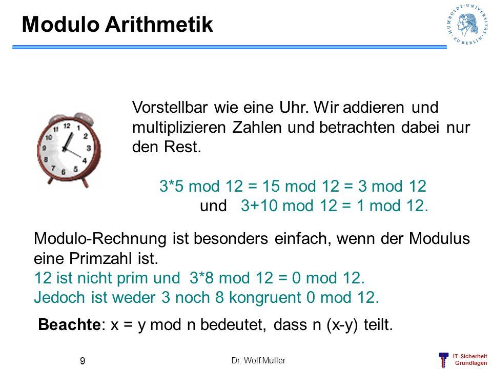 IT-Sicherheit Grundlagen Dr. Wolf Müller 9 Modulo Arithmetik Vorstellbar wie eine Uhr. Wir addieren und multiplizieren Zahlen und betrachten dabei nur