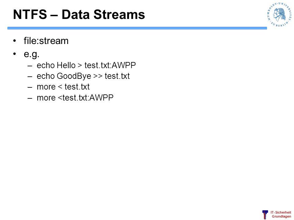 IT-Sicherheit Grundlagen NTFS – Data Streams file:stream e.g.