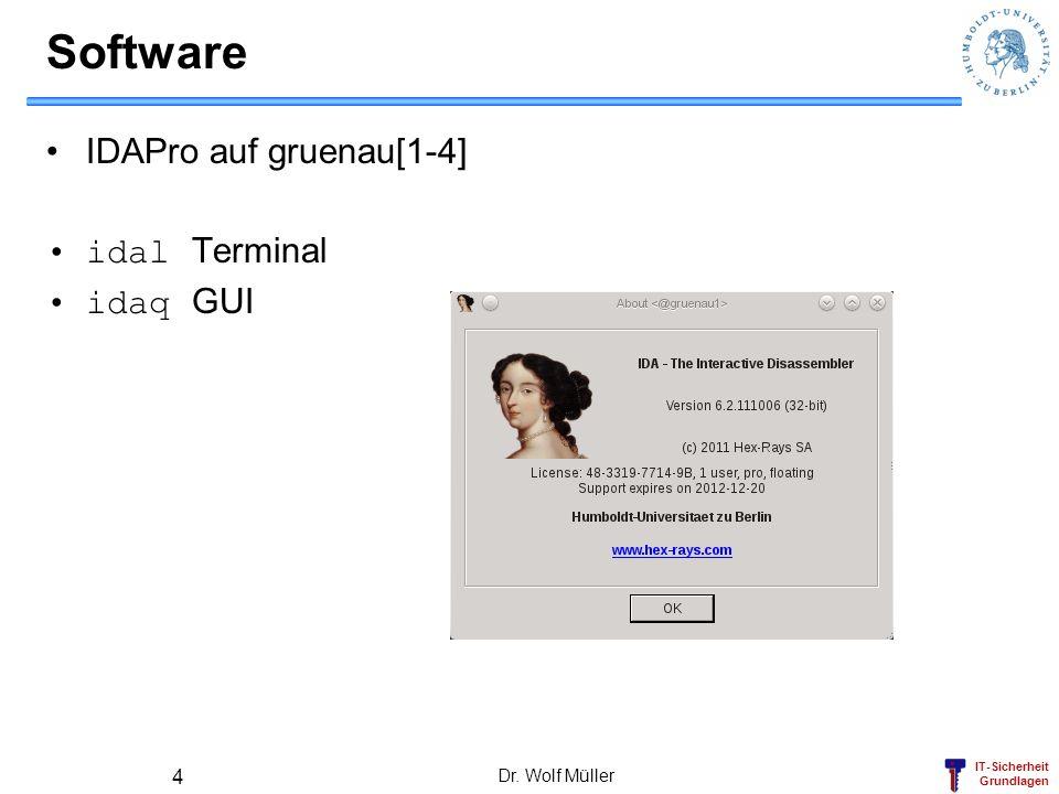 IT-Sicherheit Grundlagen Software IDAPro auf gruenau[1-4] idal Terminal idaq GUI Dr. Wolf Müller 4