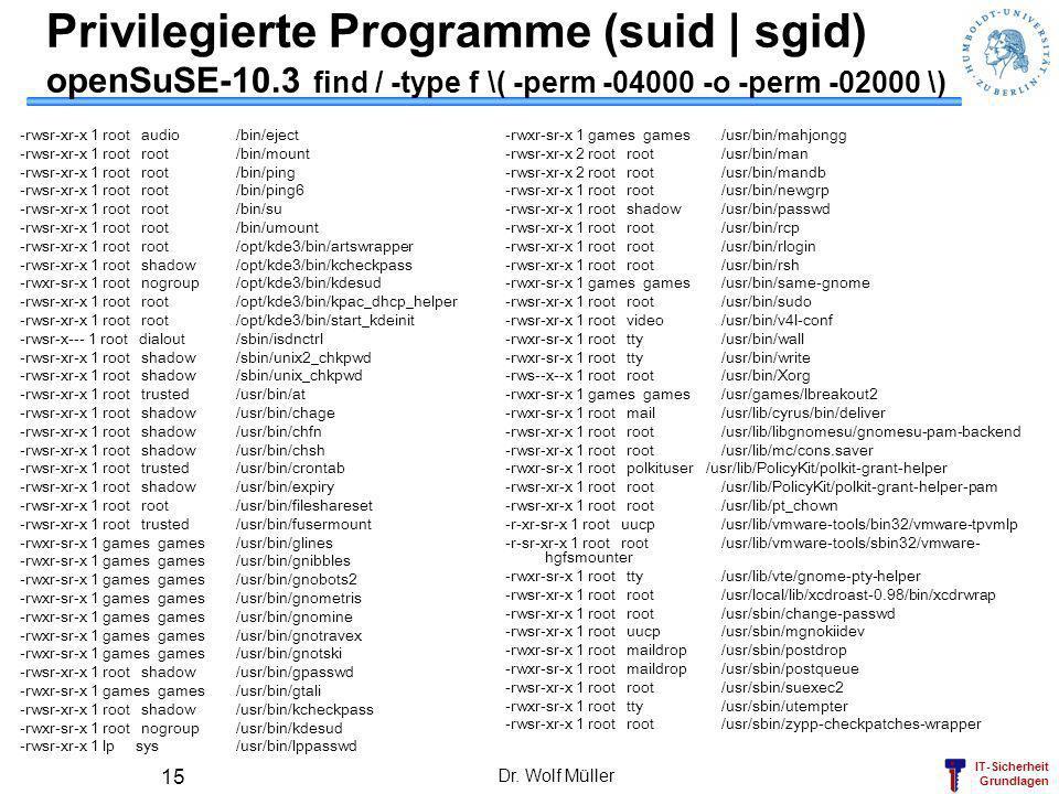 IT-Sicherheit Grundlagen Privilegierte Programme (suid   sgid) openSuSE-10.3 find / -type f \( -perm -04000 -o -perm -02000 \) -rwsr-xr-x 1 root audio