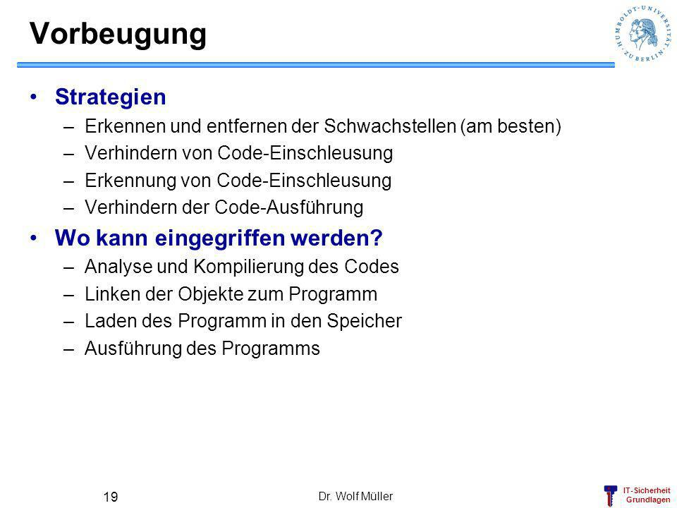 IT-Sicherheit Grundlagen Dr. Wolf Müller 19 Vorbeugung Strategien –Erkennen und entfernen der Schwachstellen (am besten) –Verhindern von Code-Einschle