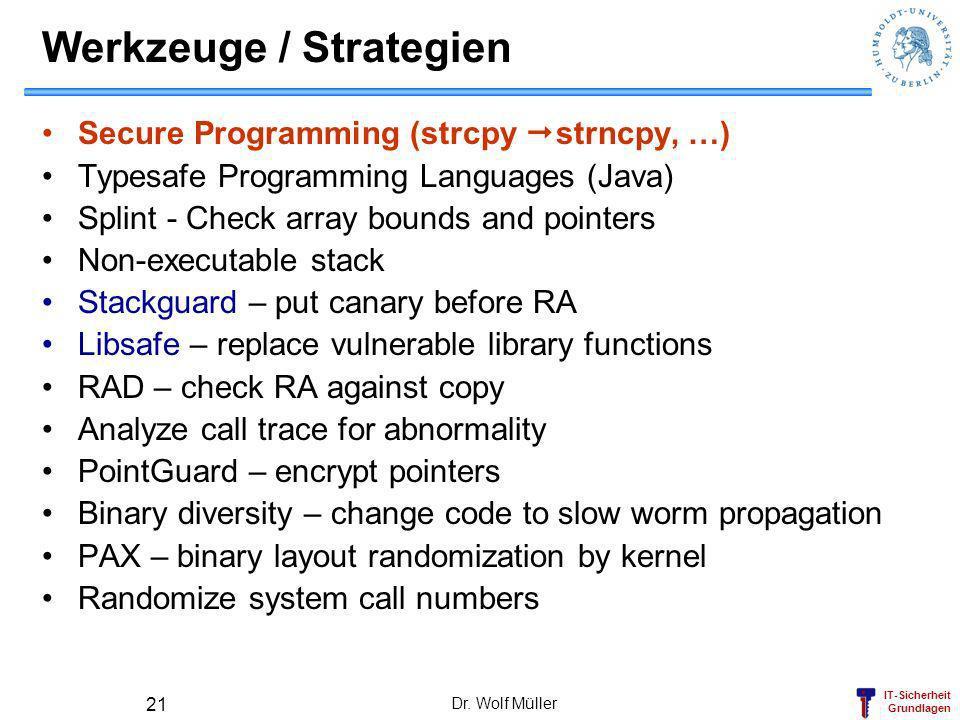 IT-Sicherheit Grundlagen Dr. Wolf Müller 21 Werkzeuge / Strategien Secure Programming (strcpy strncpy, …) Typesafe Programming Languages (Java) Splint