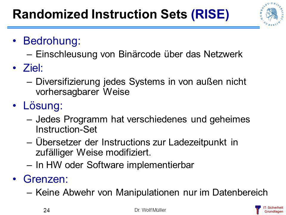IT-Sicherheit Grundlagen Dr. Wolf Müller 24 Randomized Instruction Sets (RISE) Bedrohung: –Einschleusung von Binärcode über das Netzwerk Ziel: –Divers