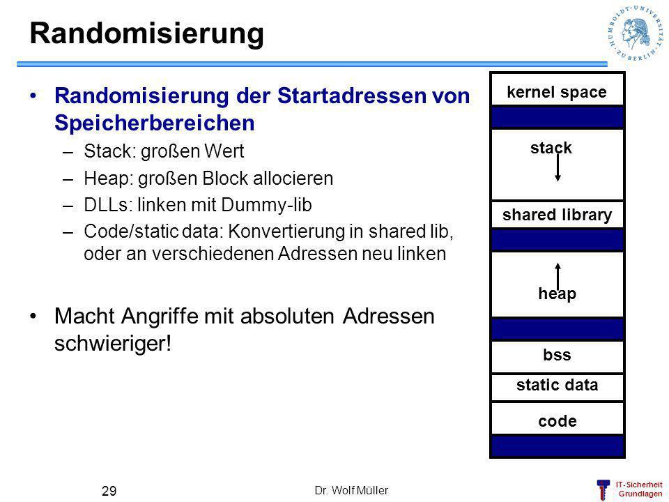IT-Sicherheit Grundlagen Dr. Wolf Müller 29 Randomisierung Randomisierung der Startadressen von Speicherbereichen –Stack: großen Wert –Heap: großen Bl
