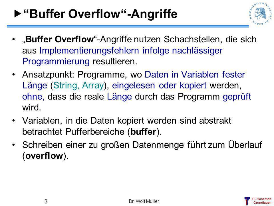 IT-Sicherheit Grundlagen Dr. Wolf Müller 3 Buffer Overflow-Angriffe Buffer Overflow-Angriffe nutzen Schachstellen, die sich aus Implementierungsfehler