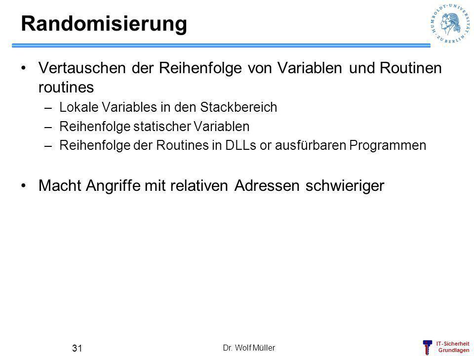 IT-Sicherheit Grundlagen Dr. Wolf Müller 31 Randomisierung Vertauschen der Reihenfolge von Variablen und Routinen routines –Lokale Variables in den St