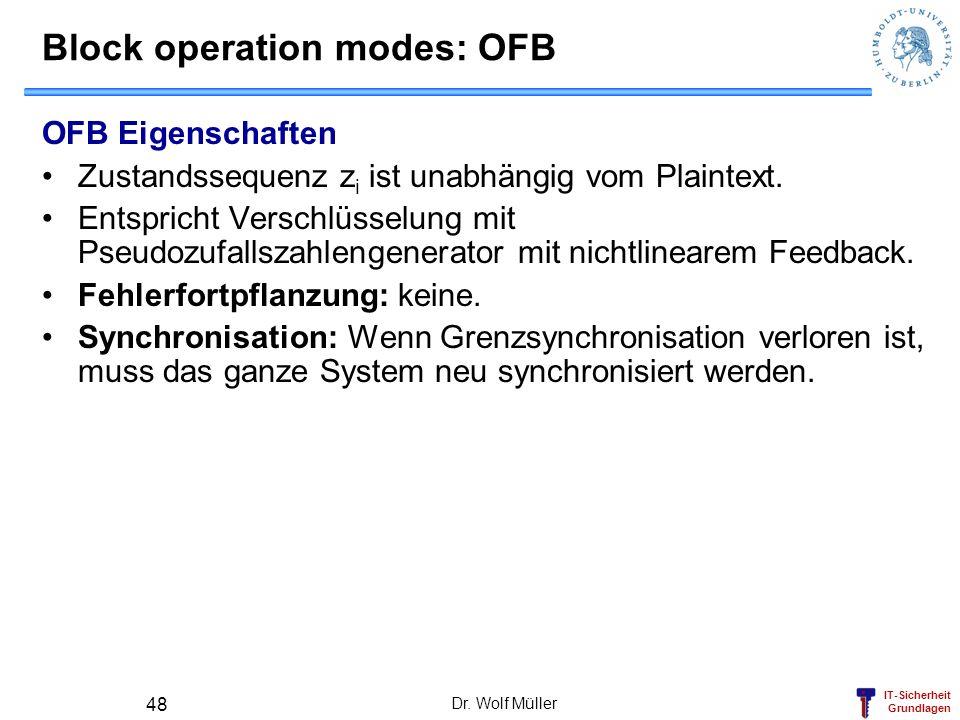 IT-Sicherheit Grundlagen Blockchiffre Algorithmen: DES 3DES AES Dr. Wolf Müller 49