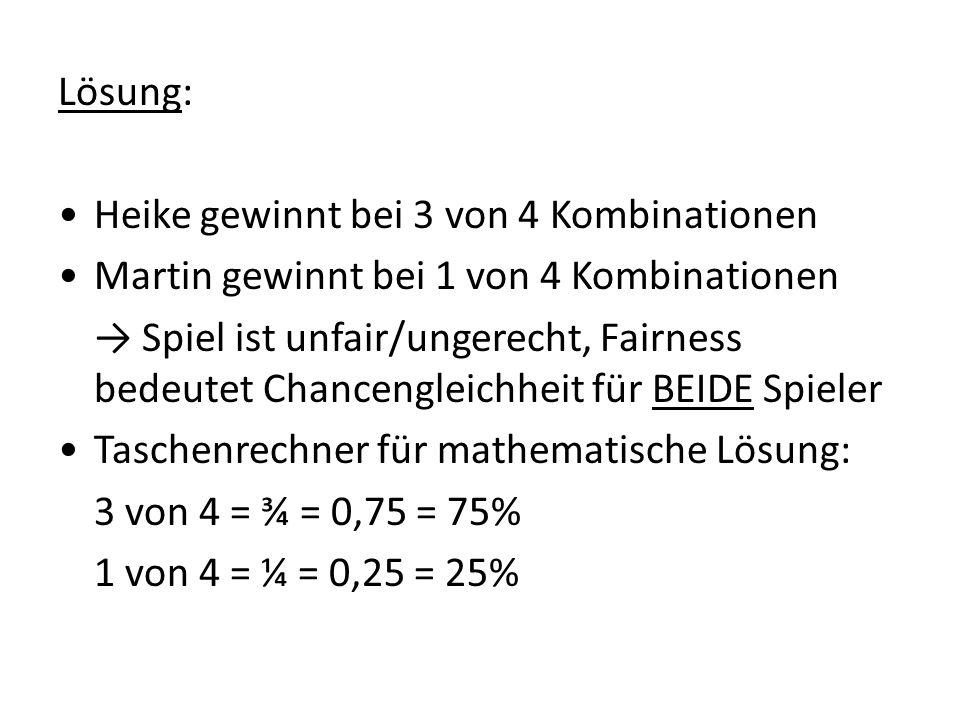 Lösung: Heike gewinnt bei 3 von 4 Kombinationen Martin gewinnt bei 1 von 4 Kombinationen Spiel ist unfair/ungerecht, Fairness bedeutet Chancengleichhe