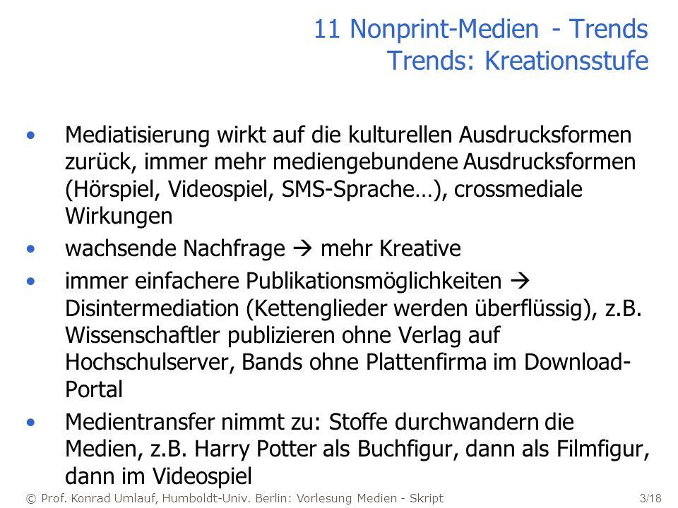 © Prof. Konrad Umlauf, Humboldt-Univ. Berlin: Vorlesung Medien - Skript 3/18 11 Nonprint-Medien - Trends Trends: Kreationsstufe Mediatisierung wirkt a
