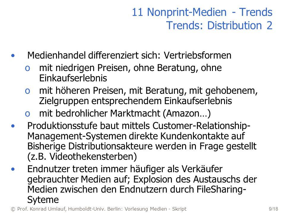 © Prof. Konrad Umlauf, Humboldt-Univ. Berlin: Vorlesung Medien - Skript 9/18 11 Nonprint-Medien - Trends Trends: Distribution 2 Medienhandel differenz