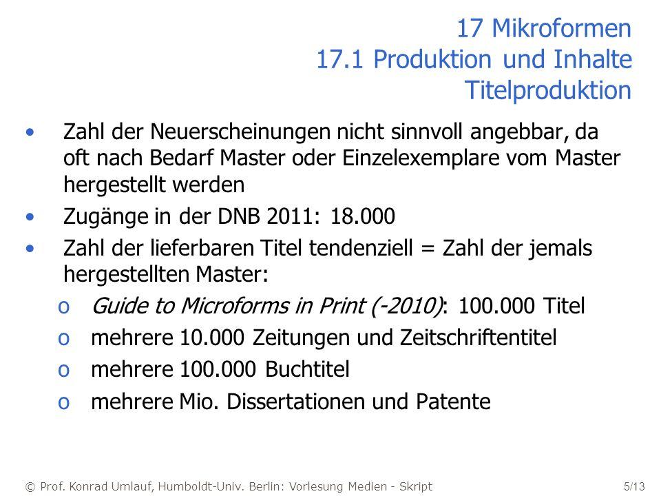 © Prof. Konrad Umlauf, Humboldt-Univ. Berlin: Vorlesung Medien - Skript 5/13 17 Mikroformen 17.1 Produktion und Inhalte Titelproduktion Zahl der Neuer
