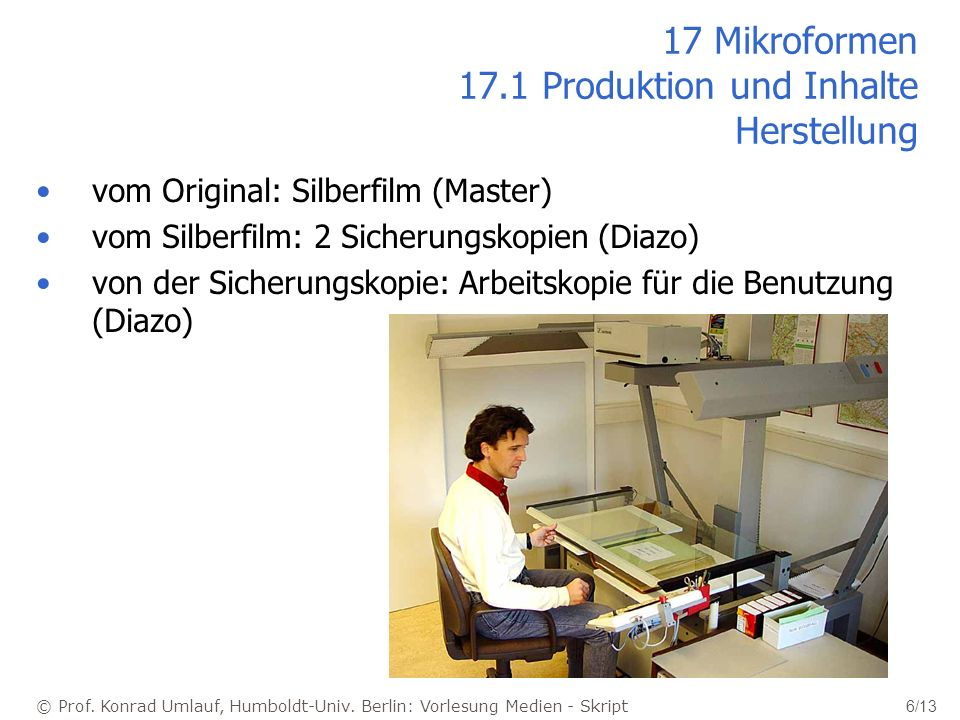 © Prof. Konrad Umlauf, Humboldt-Univ. Berlin: Vorlesung Medien - Skript 6/13 17 Mikroformen 17.1 Produktion und Inhalte Herstellung vom Original: Silb