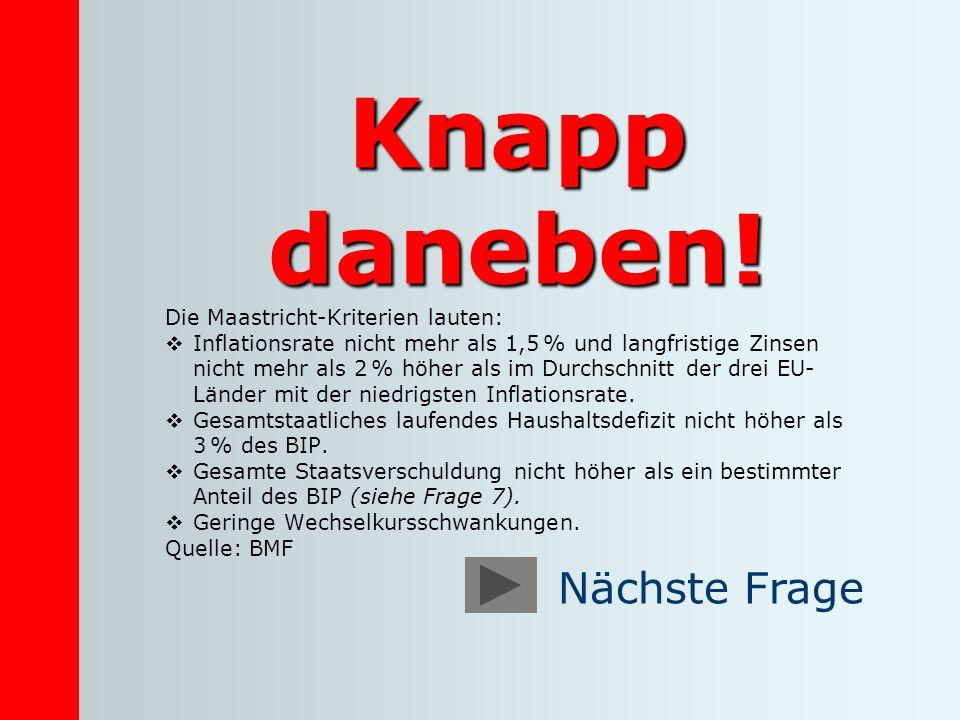 Knapp daneben! Die Maastricht-Kriterien lauten: Inflationsrate nicht mehr als 1,5 % und langfristige Zinsen nicht mehr als 2 % höher als im Durchschni