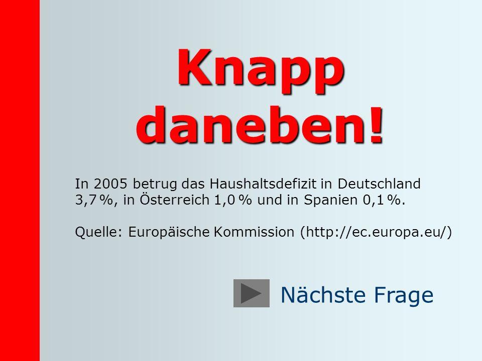 Knapp daneben! In 2005 betrug das Haushaltsdefizit in Deutschland 3,7 %, in Österreich 1,0 % und in Spanien 0,1 %. Quelle: Europäische Kommission (htt