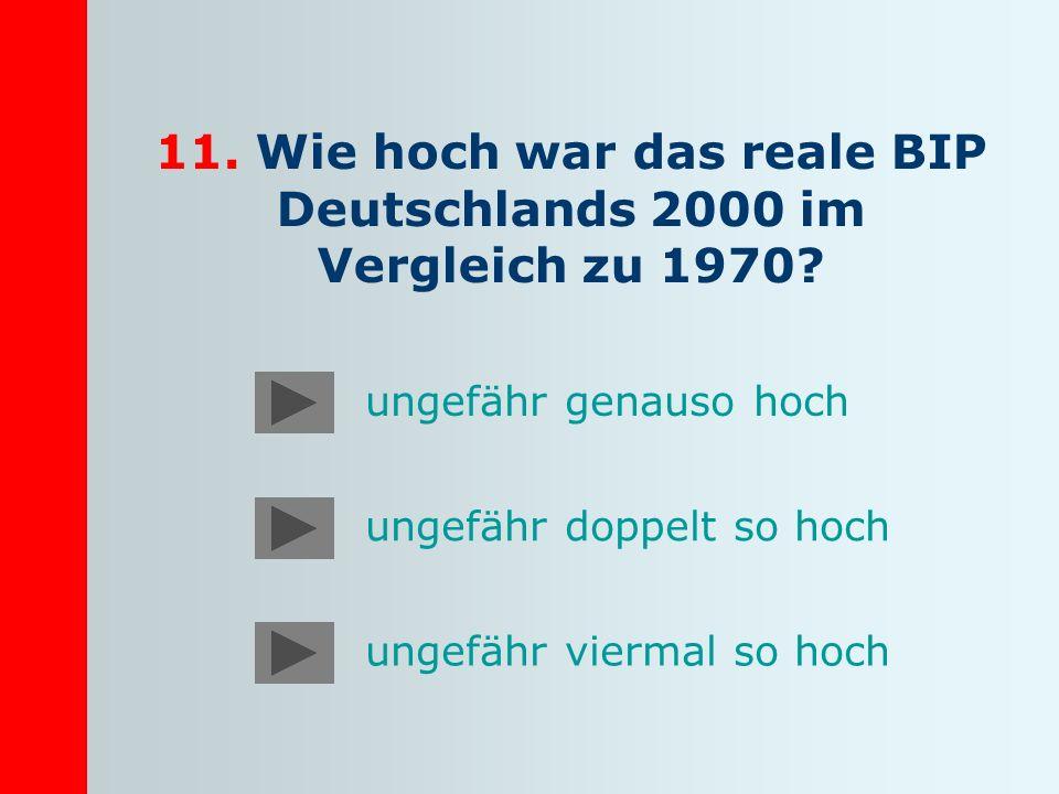 11. Wie hoch war das reale BIP Deutschlands 2000 im Vergleich zu 1970? ungefähr genauso hoch ungefähr doppelt so hoch ungefähr viermal so hoch