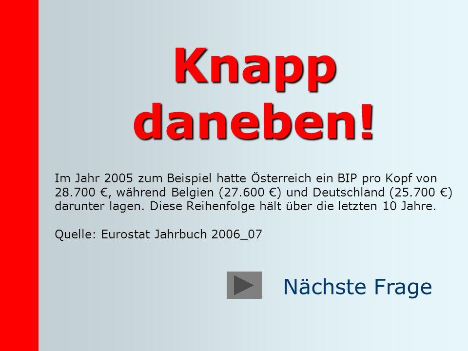 Knapp daneben! Im Jahr 2005 zum Beispiel hatte Österreich ein BIP pro Kopf von 28.700, während Belgien (27.600 ) und Deutschland (25.700 ) darunter la